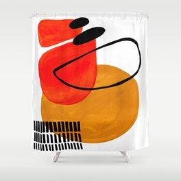 Mid Century Modern Abstract Vintage Pop Art Space Age Pattern Orange Yellow Black Orbit Accent Shower Curtain