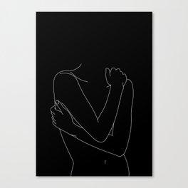 Nude figure line drawing illustration - Emie black Canvas Print