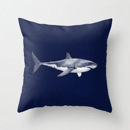 WHITE SHARK (marine blue) Throw Pillow