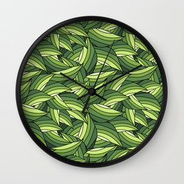 GREENERY LEAVES B  (abstract flowers nature) Wall Clock