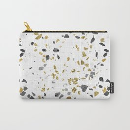 Black and Gold Terrazzo White Marble Carry-All Pouch