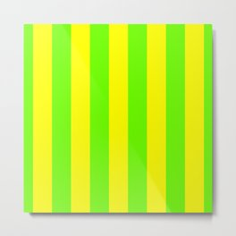 Bright Neon Green and Yellow Vertical Cabana Tent Stripes Metal Print