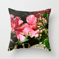 hibiscus Throw Pillows featuring Hibiscus by WonderfulDreamPicture