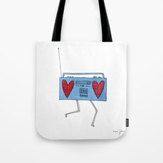 boombox with hearts Tote Bag
