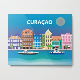 Curacao - Skyline Illustration by Loose Petals Metal Print