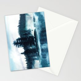 Misty lake watercolor landcape Stationery Cards