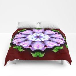 Purple White Flower on Burgundy Comforters