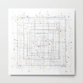 Colorful abstract geometric pattern with color dots Metal Print