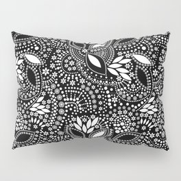 Placer of white beads on a black background . Pillow Sham