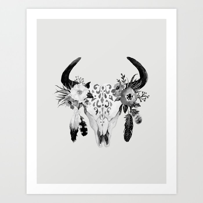 Floral Bohemian Watercolor Animal Stag Head Skull Peach Pink
