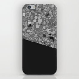 Terrazzo Texture Grey Black #7 iPhone Skin