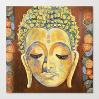buddah Canvas Prints featuring Buddah by cushionartaustralia