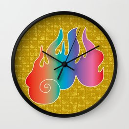 Flame of God's Wrath on Gold-leaf Screen Wall Clock