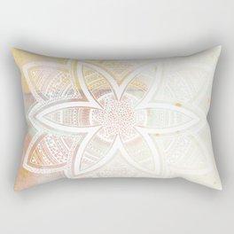wholeness white mandala on pink Rectangular Pillow