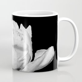 White Peony Black Background Coffee Mug