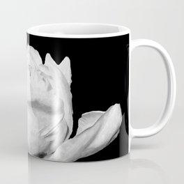White Peony Black Background Coffee Mug