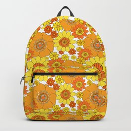Flower bunch orange and yellow Backpack