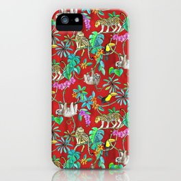 Rainforest Friends - watercolor animals on textured red iPhone Case
