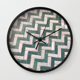 Moroccan floor tiles in green and white chevron Wall Clock
