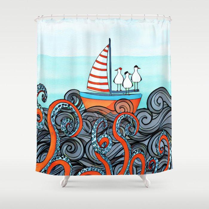 Seagull And Little Boat Shower Curtain By Jblittlemonsters