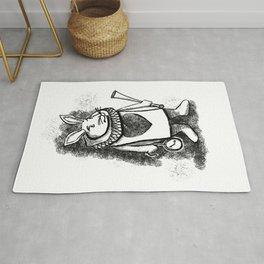 White Rabbit by Coreyartus Rug