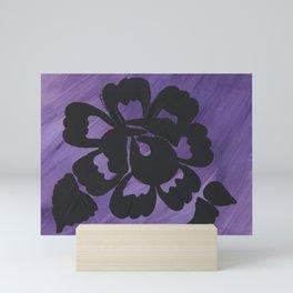 Purple Striped Rose Silhouette Art Design by Christina Appling Mini Art Print