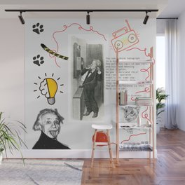 Cat, telephone and Albert Einstein quote Wall Mural