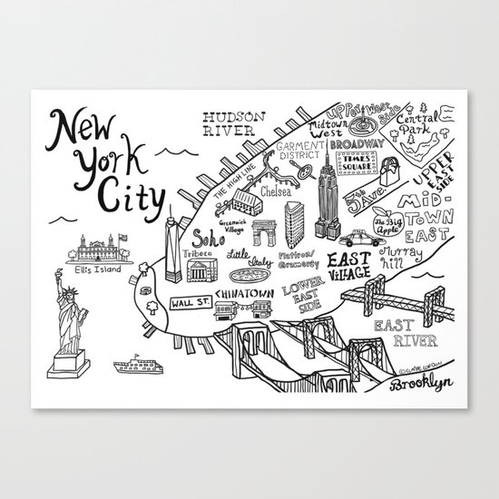 New York City Map Canvas Print By Claire Lordon Society - New york city map drawing