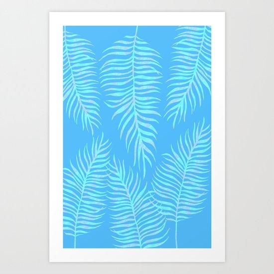Fern pattern on light blue background Art Print