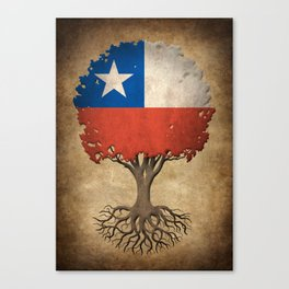 Vintage Tree of Life with Flag of Chile Canvas Print