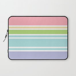 PreppyPatterns™ - Sporty Multi-stripe - peachy pink, sand, pistachio green, robin's egg blue, mist Laptop Sleeve