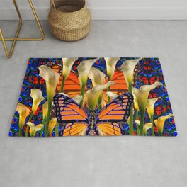 DECORATIVE WHITE CALLA LILIES & MONARCH BUTTERFLY GARDEN COLLAGE Rug