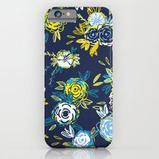 Flower Garden in Navy Neon iPhone 6s Slim Case