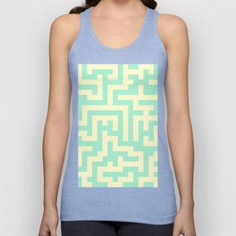 Cream Yellow and Magic Mint Green Labyrinth Unisex Tank Top