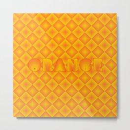 Orange diamond pattern 70's disco style Metal Print