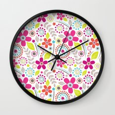 Inky Floral Wall Clock