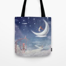 City of children on  fantastic clouds in the sky Tote Bag
