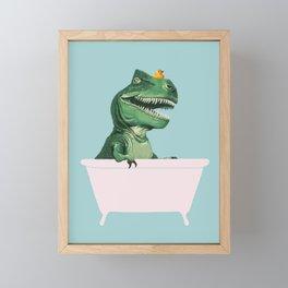 Playful T-Rex in Bathtub in Green Framed Mini Art Print