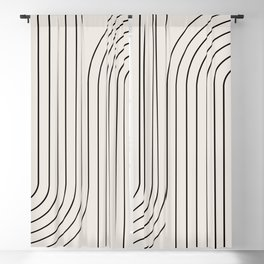 Minimal Line Curvature - Black and White I Blackout Curtain