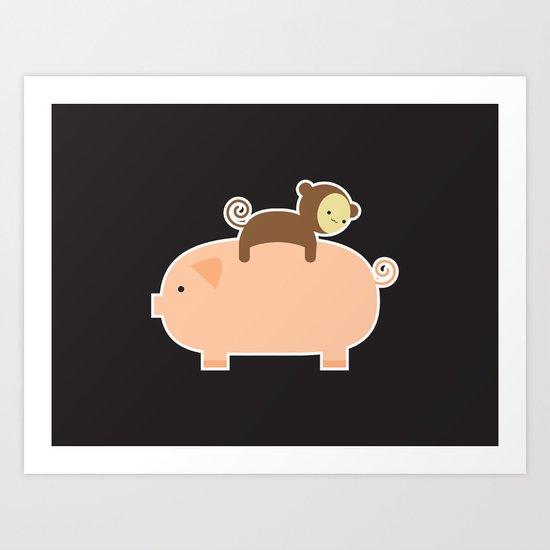 Baby Monkey (Black Bg) Art Print