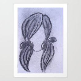 Girl with Ponytails Art Print