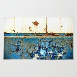 Industrial Rust on Blue Metal Rug