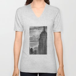 Empire State Building Pencil Drawing Unisex V-Neck