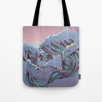 sunset Tote Bags featuring Sunset by Huebucket