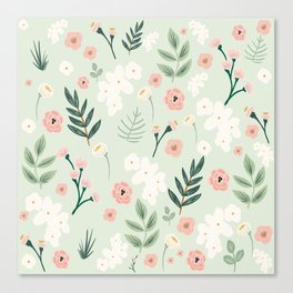 Spring Floral Botanical Pattern in Blush Pink and Green Canvas Print