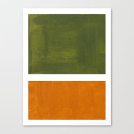 Olive Green Yellow Ochre Minimalist Abstract Colorful Midcentury Pop Art Rothko Color Field Canvas Print