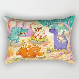 Group of funny dinosaurs in a prehistoric landscape. Rectangular Pillow