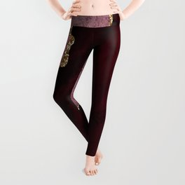 Agate, Burgundy Pink Faux Gold Leggings