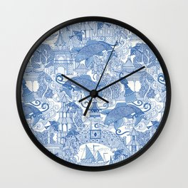 chinoiserie toile blue Wall Clock