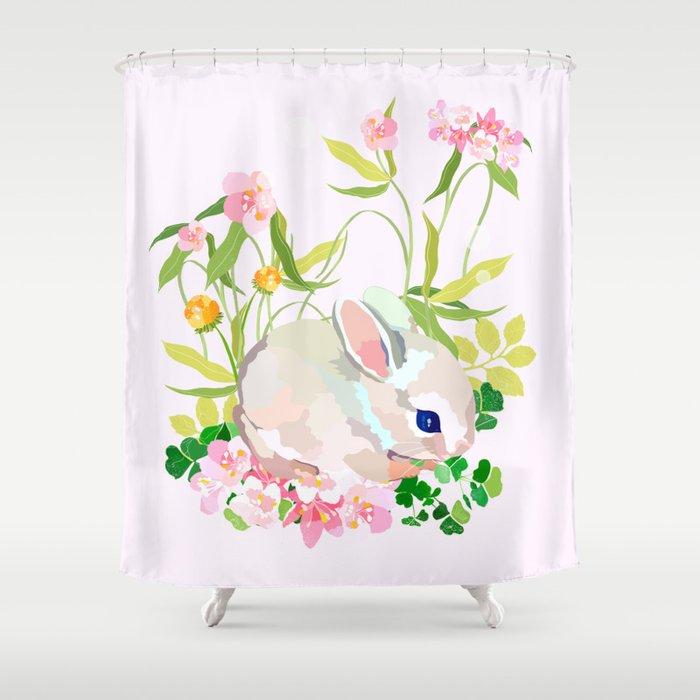 Springtime Bunny Shower Curtain